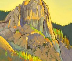 """Afternoon Light, Sentinel, Yosemite, by Stephen Quiller, 32"""" X 23"""", acrylic & casein painting."""