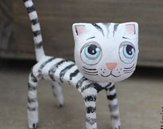 Check out our paper mache dolls selection for the very best in unique or custom, handmade pieces from our shops. Paper Mache Crafts For Kids, Hand Crafts For Kids, Cat Crafts, Arts And Crafts, Paper Crafts, Paper Glue, Paper Toys, Paper Art, Paper Mache Animals