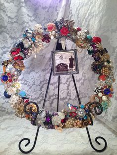 Vintage Style Rhinestone and Brooch Year Round Wreath with picture frame  ~ Repurpose Recycle Reuse on Etsy, $170.00