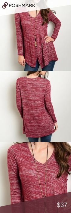 "Fall Essential Burgundy lightweight sweater top Long sleeve cross over light weight sweater top. Perfect to pair with jeans, leggings or a skirt. Made of 52% rayon, 44% Polyester and 4% Spandex. Measurements for small Length 28"" Bust: 26"". Bchic Tops"