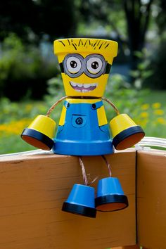 Minion Flower pot person by SchumArt on Etsy