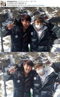 Group JYJ (Kim Jaejoong, Park Yoochun, Kim Junsu)'s Jaejoong uploaded a selfie of his hiking trip with fellow member Kim Junsu. http://www.kpopstarz.com/tags/jyj