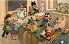 Cats Dressed in Clothing in Sewing Class