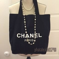 Chanel black canvas tote VIP gift bag #chanel #TotesShoppers