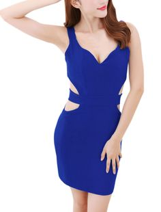 Women's Deep V Neck Sleeveless Padded Bust Cut Out Sheath Dress