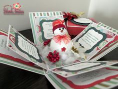 Christmas Exploding Box Card with Snowman Theme