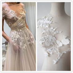 Embroidered Lace Fabric, Embroidery Applique, Beaded Wedding Gowns, Wedding Dresses, Wedding Costumes, White Bridal, Sewing Accessories, Dance Dresses, Floral Lace