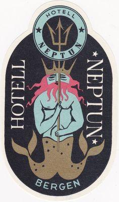 Vintage Luggage/Hotel Label - Hotell Neptun, Bergen - Merman - Retro Artwork