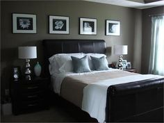 bedrooms in black silver and red color scheme photos | Dark walls and black furniture create a dark cocoon for a bedroom ...