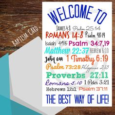 Welcome to the Best Way of Life, jw cards, baptism cards, Bible verses, NWT, Jehovah's Witness by twolovinghands on Etsy