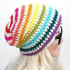 Crochet Slouch Rainbow Beanie- Ultimate Slacker Striped Beanie Hat- Pride