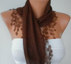 Brown Scarf   Cotton  Scarf  Headband Necklace Cowl by fatwoman, $16.00