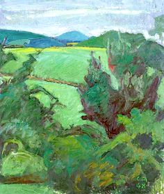 CUNO AMIET (1868-1961) Blick von der Oschwand, 1948. Cuno Amiet was a Swiss painter, illustrator, graphic artist and sculptor. As the first Swiss painter to give precedence to colour in composition, he was a pioneer of modern art in Switzerland.