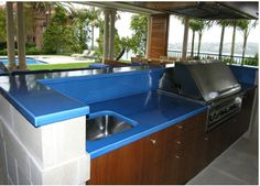 Glazed Volcanic Lava Stone Outdoor Kitchen Countertop from Pyrolave. For more design ideas, subscribe to my blog: www.HouseSpiration.com