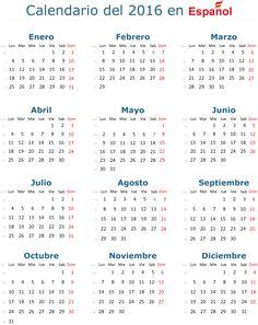 Calendario 2016 vectorial básico y en español (castellano), es editable, útil…