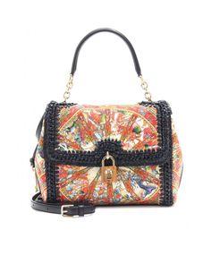 Dolce & Gabbana | Multicolor Raffia and Linen Shoulder Bag | Lyst
