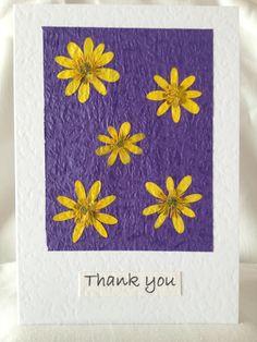 Handmade Pressed Celandine Thank You Card £5.00