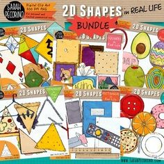2D Shapes in Real Life Clip Art Bundle by Sarah Pecorino Illustration Black N White Images, Black And White, Education Clipart, Real Life, Triangle, Clip Art, Kids Rugs, 2d, Shapes