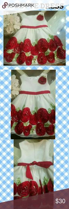 |BABY GIRL || RED CREAM ROSETTE DRESS 24 M This American Princess dress is SO CUTE. Beautiful red roses on hem on a mesh material. Comes with diaper cover and was used on once for a Fathers day event. Excellent condition. Will include Size 4 shoes. American Princess Dresses Formal