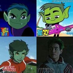 EW @ the right ones Old Teen Titans, Original Teen Titans, Titan Online, Ryan Potter, Young Justice League, Teen Titans Tv Series, Raven Beast Boy, Tmnt Girls, Bbrae