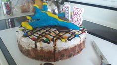 Ice cream cake w/ a blue angel jet made w/ modeling Choco; late for my son's 13th birthday.