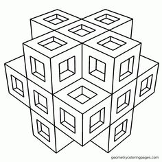3d Coloring Pages Printable Geometric
