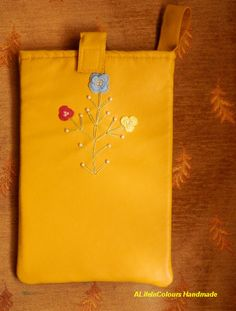 item no206 Hand crafted ocher colour leather by ALIFEINCOLOURS, $38.00