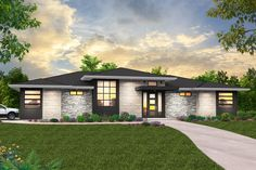 This beautiful prairie home has everything you could want, and we've done it in a single story. Tons of light, an open feel, and an easy living floor plan. Prairie House, Prairie Style Houses, Modern Prairie Home, Prairie Style Architecture, Landscape Architecture, House Plans One Story, Ranch House Plans, One Story Houses, Contemporary House Plans