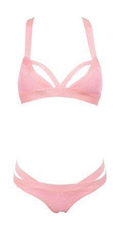 'Toulon' Baby Pink Bandage and Mesh Bikini