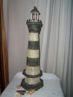 Vintage Lighthouse Lamp Fishermen Fishing by alottocollect on Etsy, $32.00