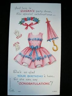Adorable unused vintage Latto Slenderettes paper doll card. This is Susan, and it is a birthday card. #10-OB373, and also a K426 at bottom edge on backside. Comes exactly as shown with doll and all h