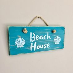 Beach Sign with Sea Shells on Wood  - Rustic Shabby Chic Coastal Home Decor - Beach Decor - Turquiose Blue and White Timber Sign with Rope