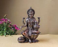 Goddess Lakshmi Statue, Goddess Laxmi Statue, Hindu Goddess of Money, Wealth, Abundance, Fertility & Prosperity. Indi... Lakshmi Statue, Goddess Lakshmi, Religious Gifts, Beautiful Gift Boxes, Indian Art, Fertility, Abundance, Wealth, Bronze
