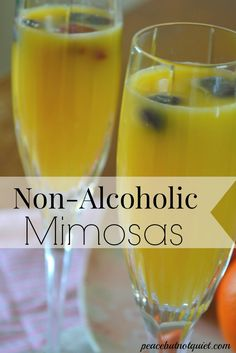 Looking for fun, festive non alcoholic drinks for a celebration? Non-alcoholic mimosas are great for baby showers, spring brunches, or kids' toasts on New Year's Eve. A simple, elegant mocktail that anyone can enjoy!