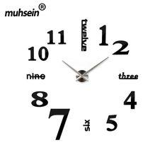 130cm x 130 cm 2016 Super Big DIY Wall Clock Acrylic+EVR+Metal Mirror Super Big Personalized Digital Watches Clocks Freeshipping