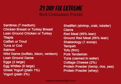 21 Day Fix EXTREME! Approved Red Container Foods List! #21dayfixextreme