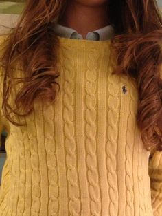 Classic Polo Ralph Lauren cable knit sweater over an oxford
