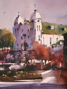 watercolor by Richard Stephens.  Our church is the subject for many local artists. Love it!