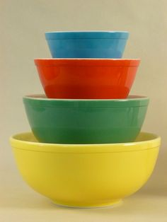"Love these vintage  "" primary colors"" mixing bowls passed down from my grandmother"