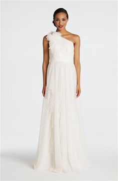 Carmen Marc Valvo Dotted Tulle One Shoulder Gown | Nordstrom