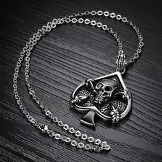 Amazon.com: Caperci Men's Antique #Skull Pendant Necklace Silver High Polish Stainless Steel Link Chain 20 Inch: Jewelry