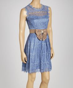 Take a look at this Blue Lace Sleeveless Dress on zulily today!