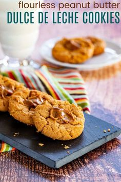 Peanut Butter Dulce de Leche Cookies - satisfy your sweet and salty cravings with this easy cookie recipe. Only 7 ingredients, one bowl, and naturally gluten free since they are made without flour. Kids love the combo of caramel and peanut butter, and adults appreciate the bold, complex flavors. Delicious Cookie Recipes, Easy Cookie Recipes, Sweets Recipes, Yummy Cookies, Easy Gluten Free Desserts, Homemade Desserts, Fun Desserts, Peanut Butter Thumbprint Cookies, Flourless Peanut Butter Cookies