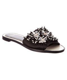 LANVIN Lanvin Embellished Satin Slide'. #lanvin #shoes #flats