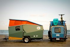 evrtstudio: (via stevewyshywaniuk)  Cricket Trailer  The Cricket Trailer is a modern lightweight camper designed + built by founder Garret Finney (a previous designer & architect at NASA). It was designed to be very lightweight so even smaller cars can tow it. This is my dream camper folks.   The base models start at $13,700 in two different layout options. Take the time to go look at all of the details because they really thought of everything.
