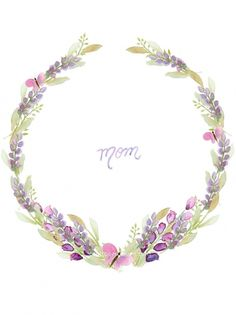 Free Mother's day watercolor card printables (blank wisteria watercolor wreath included) | Craftberry Bush