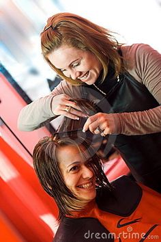 image photo : At the hair stylist