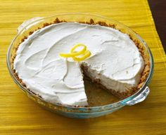 """There is no simpler dessert than this lemon cream pie. Only 4 ingredients and NO BAKING! Cool and creamy, this pie is the perfect finish to a summer BBQ. Make it when you're short on time but heading to a potluck. Truly a simple """"anytime"""" dessert. No Bake Desserts, Easy Desserts, Delicious Desserts, Dessert Recipes, Pie Dessert, Lime Pie Recipe, Cream Pie Recipes, Cool Whip Pies, 4 Ingredient Desserts"""