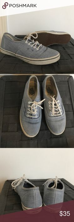 Denim van sneakers Used and no longer fit but still in good condition! Super trendy and great kicks for the summer Vans Shoes Sneakers