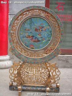 Huge china Royal cloisonne 100% Bronze Dragon Phoenix Mandarin ducks screen